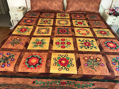 "Harvest Flowers Quilt to be donated to the United Way of Denton County's annual ""Tribute"" fund-raising event."